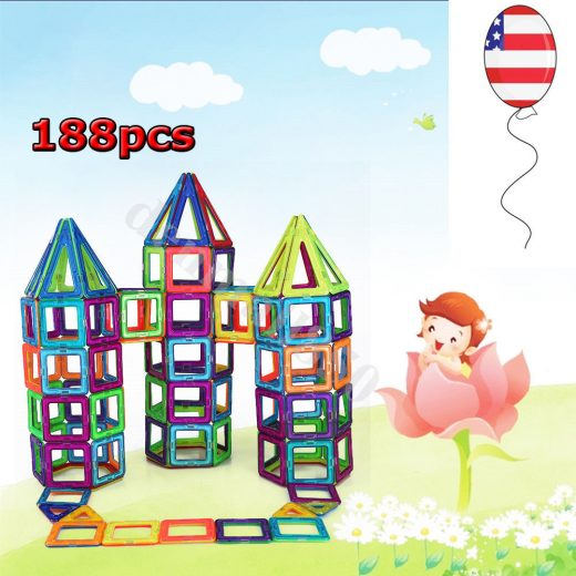 188Pcs Magnetic Building Blocks Construction Kids Educational Stacking Toys USA