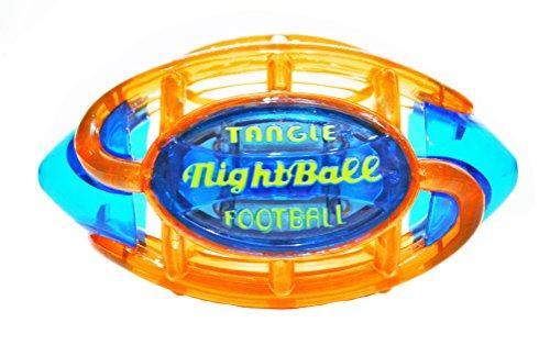 Tangle NightBall Glow in the Dark Light Up LED Football, Orange with Blue