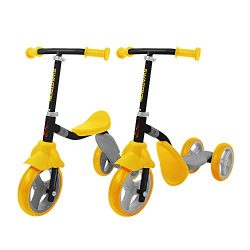 K2 Toddler 3 Wheel Kick Scooter & Ride-On Balance Trike 2-in-1 Adjustable for 2, 3, 4, 5 Year Old Kids Boy or Girl Transforms In Seconds (Yellow)