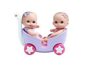 "LIL' CUTESIES TWIN DOLLS IN STROLLER – 8.5"" All vinyl water friendly dolls for children Ages 2+ – Designed by Berenguer"