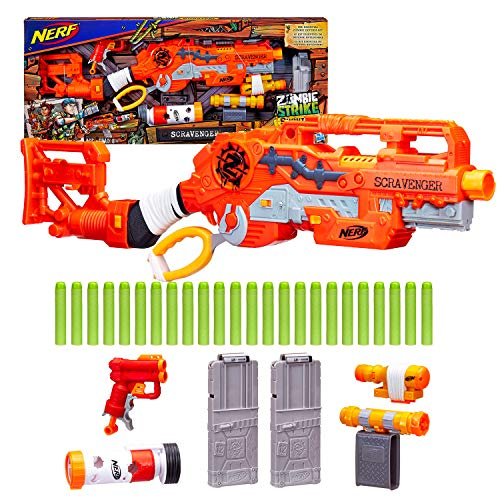 Scravenger Nerf Zombie Strike Toy Blaster with Two 12-Dart Clips, 26 Darts, Light, Barrel Extension, X 40Mm, Stock, 2-Dart Blaster – For Kids, Teens, Adults