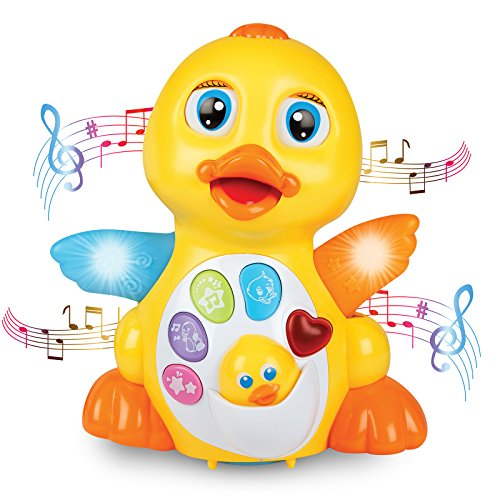 ToyThrill Light Up Dancing and Singing Duck Toy – Infant, Baby and Toddler Musical and Educational Toy – Walks, Glides and Flaps Wings – 6 Songs, Speaking and Sound Effect Modes