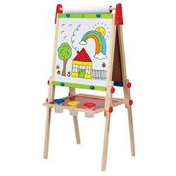Hape Award Winning All-in-One Wooden Kid's Art Easel with Paper Roll and Accessories