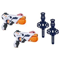 AlphaPoint Nerf Laser Ops Pro Toy Blasters – Includes 2 Blasters & 2 Armbands – Light & Sound FX – Health & Ammo Indicators – For Kids, Teens & Adults