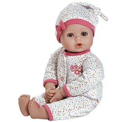 Adora PlayTime Baby Dot Vinyl 13″ Girl Weighted Washable Play Doll Gift Set with Open/Close Eyes for Children 1+ Includes Bottle Cuddly Snuggle Soft Toy
