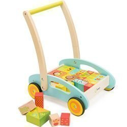 cossy Wooden Baby Learning Walker Toddler Toys for 1 Year Old Forest Theme Blocks & Roll Cart Push & Pull Toy (36 Pcs)