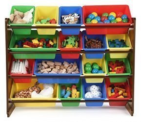 Tot Tutors WO420 Discover Collection Supersized Wood Toy Storage Organizer, Toddler, Primary Colors