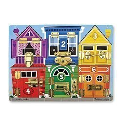 Melissa & Doug Wooden Latches Board, Developmental Toy, Helps Develop Fine Motor Skills, Smooth-Sanded Wood, 15.5″ H x 11.5″ W x 1.25″ L