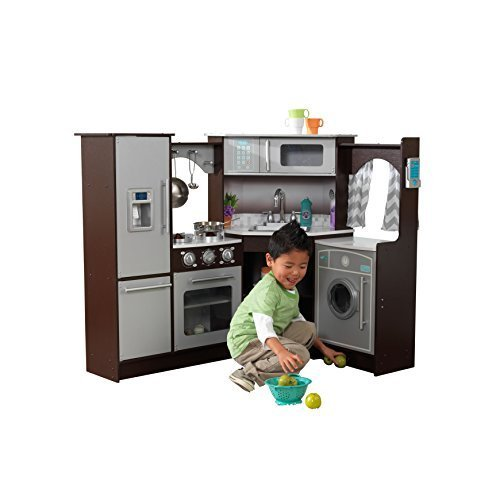 KidKraft 53365 Ultimate Corner Kitchen Playset with Lights and Sounds, Brown/White