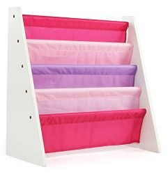 Tot Tutors WO697 Kids Book Rack Storage Bookshelf, White/Pink & Purple (Friends Collection)