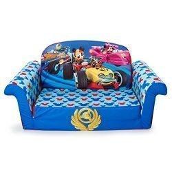 Marshmallow Furniture – Children's 2 in 1 Flip Open Foam Sofa, Disney Mickey Mouse Roadsters Flip Open Sofa