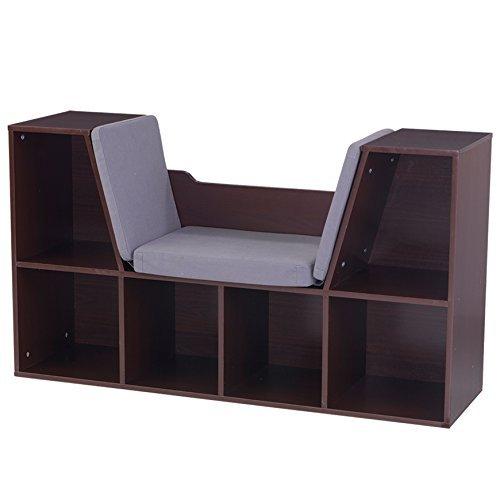 KidKraft 14231 Bookcase with Reading Nook Toy, 46.46″ x 15.16″ x 5.04″, Espresso