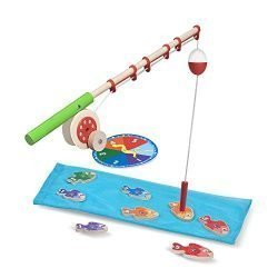 Melissa & Doug Catch & Count Wooden Fishing Game, Developmental Toy, 2 Magnetic Rods, 7.25″ H x 18″ W x 2.5″ L