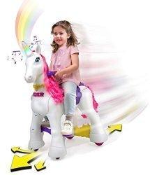 Feber My Lovely Unicorn 12V Ride On –Electric Vehicle- My Unicorn Electronic Pet & Long Pink Hair- Girl 3-7 Years