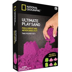 NATIONAL GEOGRAPHIC Play Sand – 2 LBS of Sand with Castle Molds and Tray (Purple) – A Kinetic Sensory Activity