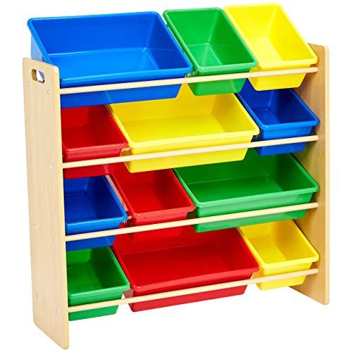 AmazonBasics Kids' Toy Storage Organizer – Natural/Primary