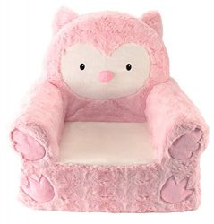 Sweet Seats | Pink Owl Children's Chair | Large Size | Machine Washable Cover