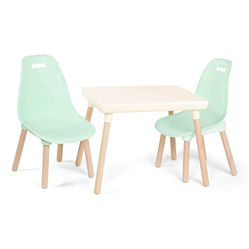 B. spaces by Battat – Kid-Century Modern: Trendy Kids Table and Chairs – 1 Table in Ivory and 2 Chairs in Mint – Kids Furniture Set for Toddlers – Ivory and Mint