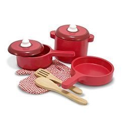 Melissa & Doug Deluxe Wooden Kitchen Accessory Set – Pots & Pans (8 pcs)