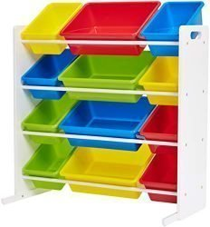 Phoenix Home Lodi Kid's Toy Storage Organizer with 12 Colorful Plastic Bins – Red, Yellow, Green, Blue