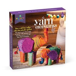 Craft-tastic – Yarn Elephants Kit – Craft Kit Makes 2 Yarn-Wrapped Elephants
