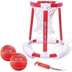 GoSports Splash Hoop 360 Floating Pool Basketball Game | Includes Water Basketball Hoop, 2 Balls and Pump