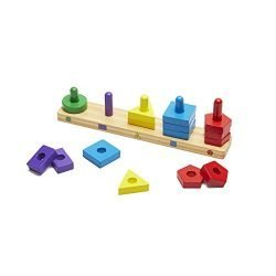 Melissa & Doug Stack and Sort Board – Wooden Educational Toy With 15 Solid Wood Pieces