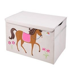 Olive Kids by Wildkin Toy Chest, Perfect for Playroom Organization, Measures 24 x 15 x 14 Inches, Coordinates with Other Room Décor – Horses