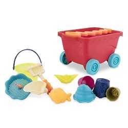 B. toys – Wavy-Wagon – Travel Beach Buggy (Red) with 11 Funky Sand Toys – Phthalates and BPA Free – 18 m+