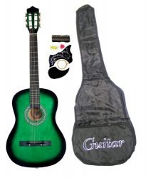 38″ GREEN Acoustic Guitar Starter Package, Guitar, Gig Bag, Strap, Pitch Pipe & DirectlyCheap(TM) Translucent Blue Medium Guitar Pick