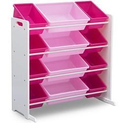 Delta Children Kids Toy Storage Organizer with 12 Plastic Bins, White/Pink