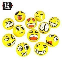 3″ Party Pack Emoji Stress Balls Stress Reliver Party Favors, Toy Balls, Party Toys (12 Pack)