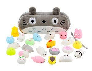 Mochi Squishy Toys 20-Pcs Pack – FREE Kawaii Cat Carrying Bag| Random Package of Mini Variety Animals Squishies Case| Cute Box of Animal Toy Set| Fun Birthday Present Idea for Girls + Boys Party Favor