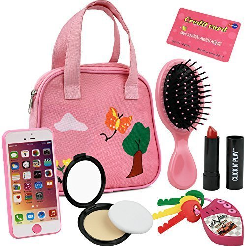 Click N' Play 8Piece Girls Pretend Play Purse, Including A Smartphone, Car Keys, Credit Card, Lipstick, Lights Up & Make Real Life Sounds