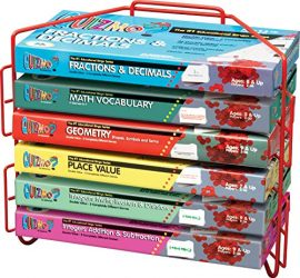 Learning Advantage QUIZMO Advanced Elementary Math Series – Set of 6 Bingo-Style Math Games for Kids – Teach Fractions, Decimals, Math Vocabulary, Geometry, Place Value and Integers