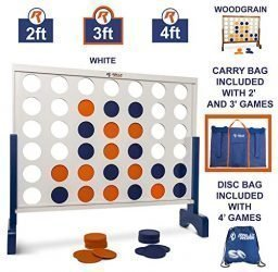 Giant 4 in A Row, 4 to Score with Carrying Bag – Premium Wooden Four Connect Game Set in 3′ White Wood by Rally & Roar – Oversized Family Outdoor Party Games for Backyard, Lawn, Parties, Bar Game