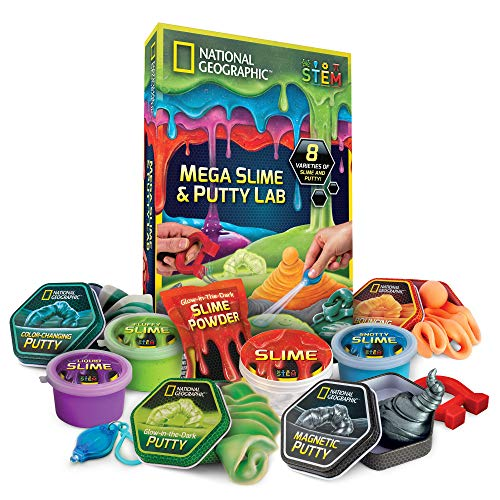 NATIONAL GEOGRAPHIC Mega Slime Kit & Putty Lab – 4 Types of Amazing Slime For Girls & Boys Plus 4 Types of Putty Including Magnetic Putty, Fluffy Slime & Glow-in-the-Dark Putty