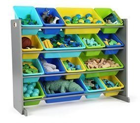 Tot Tutors WO498 Elements Collection Wood Toy Storage Organizer, X-Large, Grey/Blue/Green/Yellow