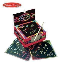 Melissa & Doug Scratch Art Box of Rainbow Mini Notes, Arts & Crafts, Wooden Stylus, 125 Count, 3.75″ H x 3.75″ W x 1.75″ L