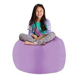 Posh Stuffable Kids Stuffed Animal Storage Bean Bag Chair Cover – Childrens Toy Organizer, Large 38″ – Heather Lavender