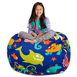 Posh Stuffable AMZST-BXL-CAN-SEABlu Kids Stuffed Animal Storage Bean Bag Chair Cover – Childrens Toy Organizer, X-Large-48in, Canvas Sea Creatures on Blue