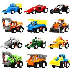 Yeonha Toys Pull Back Vehicles, 12 Pack Mini Assorted Construction Vehicles & Race Car Toy, Vehicles Truck Mini Car Toy for Kids Toddlers Boys Child, Pull Back & Go Car Toy Play Set
