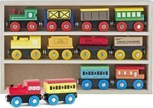 Play22 Wooden Train Set 12 PCS – Train Toys Magnetic Set Includes 3 Engines – Toy Train Sets For Kids Toddler Boys And Girls – Compatible With Thomas Train Set Tracks And Major Brands – Original