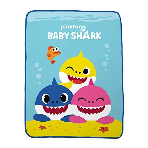 Franco Kids Bedding Super Soft Plush Throw, 46″ x 60″, Baby Shark