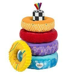 LAMAZE – Rainbow Stacking Rings Toy, Help Baby Develop Fine Motor Skills and Hand-Eye Coordination with Multiple Textures, Bold Colors, Playful Patterns and Crinkly Sounds, 6 Months and Older