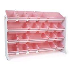 Humble Crew WO289 Kid's Toy Organizer, 20 Storage Bins, White/Pink
