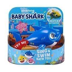 Robo Alive Junior Baby Shark Battery-Powered Sing and Swim Bath Toy by ZURU – Daddy Shark (Blue)