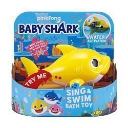 Robo Alive Junior Baby Shark Battery-Powered Sing and Swim Bath Toy by ZURU – Baby Shark (Yellow) (Color may vary)