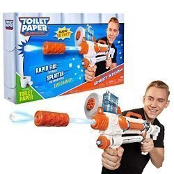 Toilet Paper Blasters Sheet Storm, Toy Blaster Shoots Rapid Fire TP Spitballsup to 50′ -Uses Real Toilet Paper! Super Fun Gift for Kids, Teens, College Students, Dads, Adults -Outdoors & Indoors