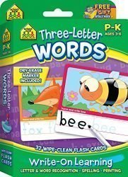 School Zone – Three-Letter Words Wipe Clean Flash Cards, Preschool and Kindergarten, Ages 3 to 6, Write-On Learning, Interactive Flash Cards, Early Reading, Includes Dry Erase Marker